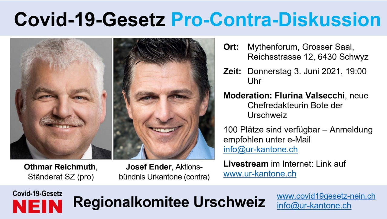 Covid-19-Gesetz Pro-Contra-Diskussion / Othmar Reichmuth Ständerat und Josef Ender